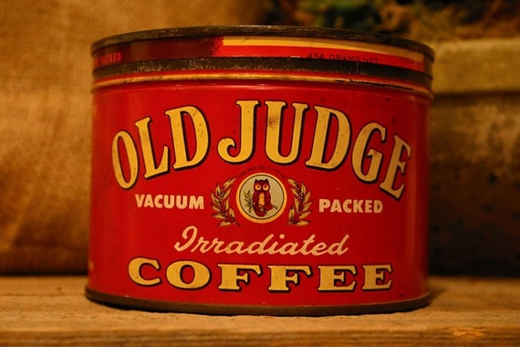 CANDLE Unique Hand-Poured Soy Wax Candle in Vintage Old Red  JUDGE Coffee Tin Can GREAT Gift Antique Collectable farmhouse Tin