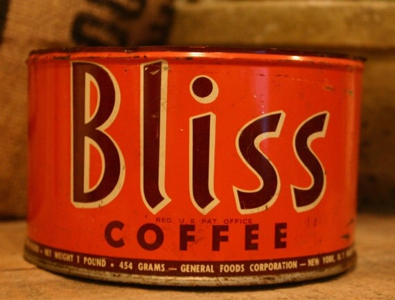 CANDLE Unique Hand-Poured Soy Wax Candle In Old Orange Vintage BLISS Coffee Tin Can Great Rustic Wedding BRIDAL Bride Gift Eco-Friendly