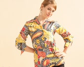 Crazy Paisley Floral Blouse / Primary colors / 1960s