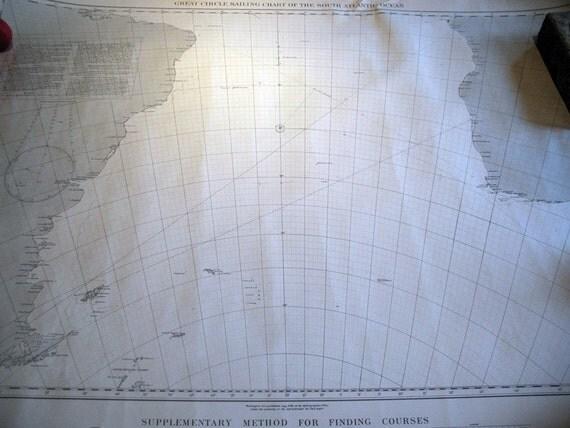 Great Circle Sailing Chart of the South Atlantic Ocean 1936