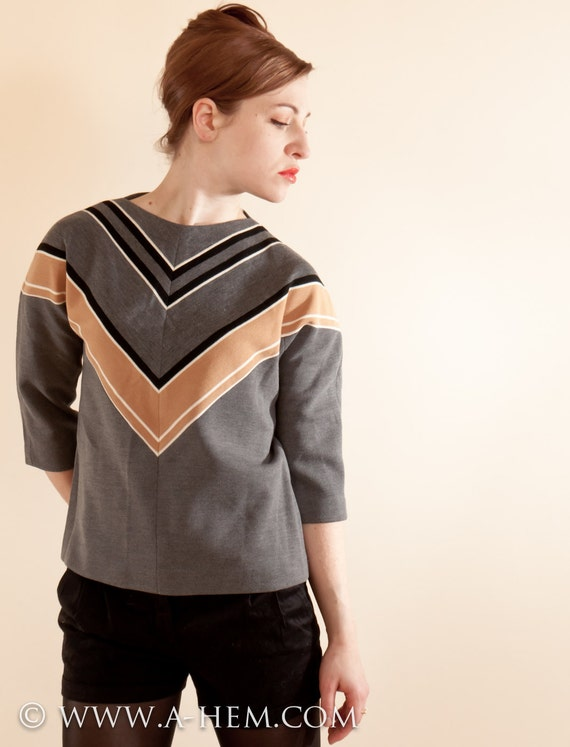 60s NOS - Gray Chevron Sweater