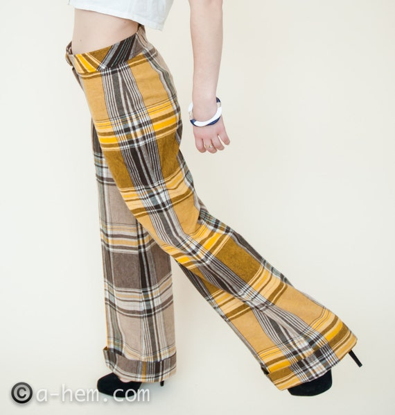 60s NOS / Golden Plaid Flared Tartan Pants