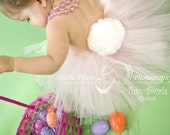 SWEET LIL BUNNY TUTU 3 PC SET WITH EARS HEADBAND AND REMOVABLE TAIL perfect for Halloween Costumes, Photography Prop (Sizes up to 5T)