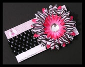 TRENDY Headband - Black with Hot Pink ZEBRA Bling (fits NB - Toddlers) - Perfect Accessory for Birthday Photos, Newborn Portraits, Tutus