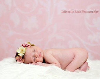 SIMPLY PRECIOUS Baby Flower Halo Headband - Silk Flowers on Soft Neutral Elastic - Perfect Photo Prop