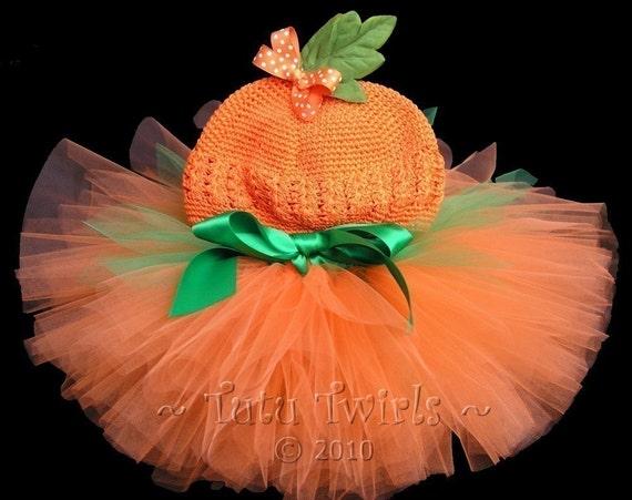 SWEET Lil PUMPKIN 2pc Costume Set (incl. tutu and beanie/clip) - Perfect for Fall Birthdays, Halloween, Photo Prop, Costume (Sz NB - 12mo)