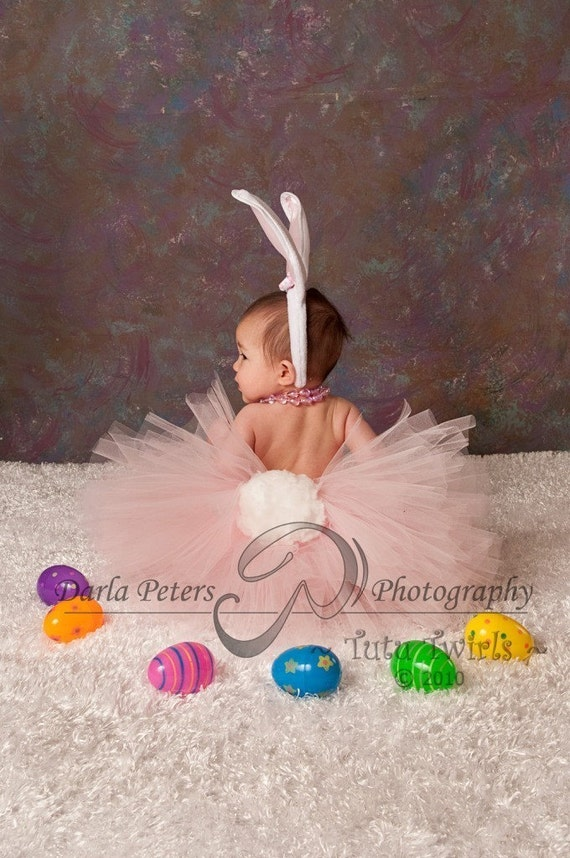 SWEET LiL BUNNY Tutu 3pc Set with Ears Headband and Removable Tail - Perfect for Halloween, Costume Parades (Sizes up to 3T)