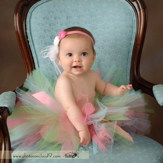Newborn thru 24 months JUST BEACHY TUTU - Perfect for Photos, 1st Birthdays, Spring, Summer, Baby Shower Gifts