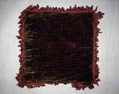 Designer Chocolate Brown Velvet Cushion With Rust Trim