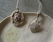Pendant Necklace, Porcelain and Hemp Cord