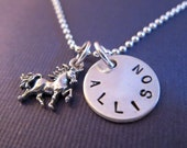 I Love Unicorns Sterling Silver Charm Necklace - Hand stamped Charm Necklace - Unicorn Jewelry - Unicorn Necklace