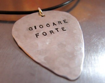 Guitar Pick Necklace with BLACK LEATHER CORD - Hand Stamped - Groom Gift - Gift for Dad, Gift for Muscian, Gift for Guitar Lover