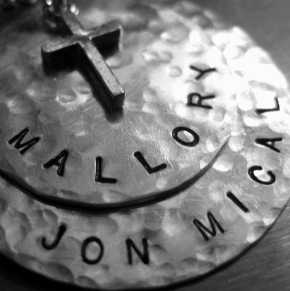 """Personalized Cross Necklace - TWO LAYER Sterling Silver Necklace - 3/4"""" and 1"""" - Hand Stamped Cross Necklace"""