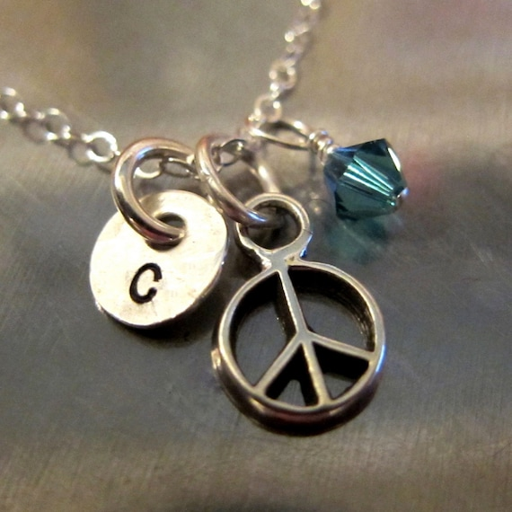 Peace Sign Necklace - Peace Jewelry - Sterling Silver with Hand Stamped Initial and Swarovski Crystal - Life is Rosey Charm Chain
