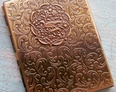 RESERVED Victorian Partridge Bird in a tree Gold Cigarette Case or Business Card Case Credit Card Wallet Peacock