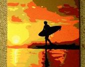 "California Surfer Painting 24"" x 24"""