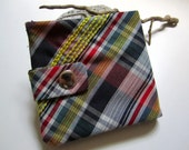 black yellow plaid billfold wallet