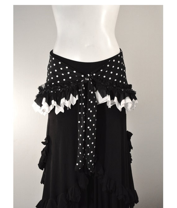Belly Dance Hip Scarf  Hip Wrap - Black and White Polka Dot - tribal fusion
