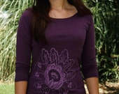 Paper Flower Botanical Print Boat Neck tee in Eggplant - Size L - Made in Usa