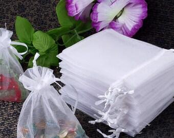 60 X Organza Drawstring Jewellery Gift Bag Pouch White P788