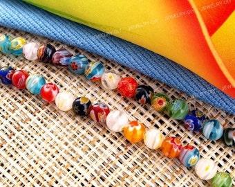 Murano Lampwork Millefiori Glass Round Beads 6mm Strand Q161