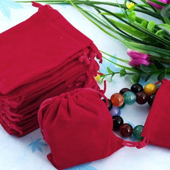 75 Red Velvet Jewellery Gift Bags Pouch Wedding Favors PD72