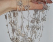 Delicate Linen Crocheted-Beaded Lariat. Elise. Natural Grey.Made to order.
