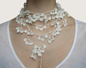 Linen Thread Lariat. SERENA. White.