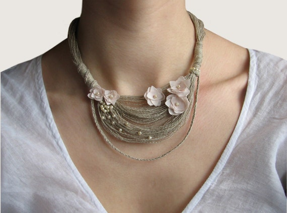 Linen Fibre Necklace.Organic.
