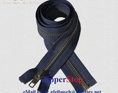 """25"""" Jacket Zipper-YKK Wholesale Zippers- 25 inch Antique Brass Separating Zippers - NAVY - Number 5 -  - Buy as many as you need"""