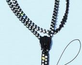 15 Inch Rhinestone Zipper Lanyard - Black  Fancy Pull~   ZipperStop Wholesale  Distributor YKK