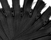 "9"" WHOLESALE YKK zippers- Twelve Black 9 Inch Zippers YKK number 3 Skirt and Dress  Color 580 Closed End"
