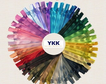 7 and  8 inch  of 100 zippers Nylon Coil Zippers  (YKK , Talon) Assorted~Made in USA~VINTAGE Zippers