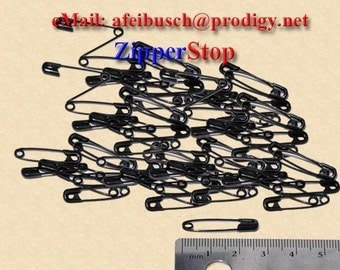 1 1/16 inch - # 1 Safety Pins- Black - (50 Pins) - Black Steel Safety Pins -   - 27mm - ~ZipperStop Wholesale Authorized Distributor YKK®