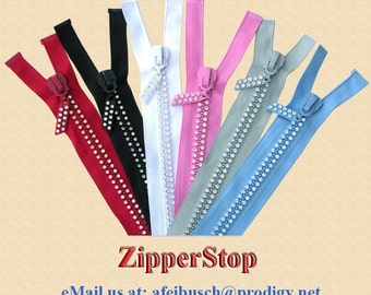 22inch - 1 zipper -  Rhinestone Zippers - Separating - RED - Dual-Strand/Czech Rhinestones - Double Row - Fancy Pull