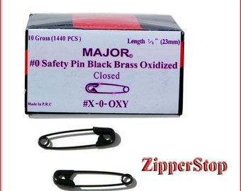 WHOLESALE BLACK- safety pins- 7/8 inch Number 0 - Safety Pins - Black - 50 pins per pack - Buy as much as you need