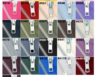 3 inch to 36 inch Jacket Zipper YKK Number 5 Aluminum Metal  Medium Weight Separating -  Choose Size and Color