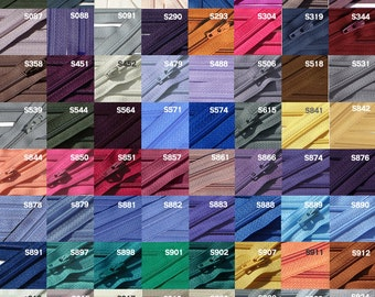 "7"" YKK Vintage  WHOLESALE  Zippers 7 inch - YKK number two and half  style - Closed End - Select Your own color (12 zippers for each color)"