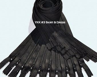 20 Inch Black  50 Zippers YKK number 3 Skirt and Dress  Color 580 Closed End