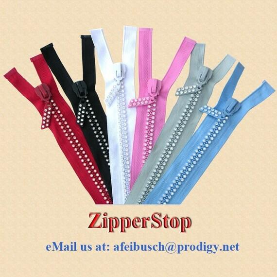 "22"" - 1 zipper -  Rhinestone Zippers - Separating - RED - Dual-Strand/Czech Rhinestones - Double Row - Fancy Pull"