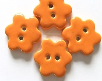 Pumpkin Orange Handmade Ceramic Flower Buttons x 4