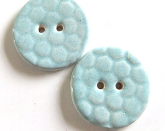 Round Speckled Pale Aqua Blue Ceramic Handmade Buttons x2 Large