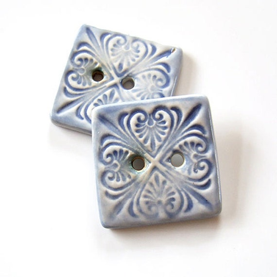 Very Large Square Pale Blue Ceramic Buttons, patterned x2