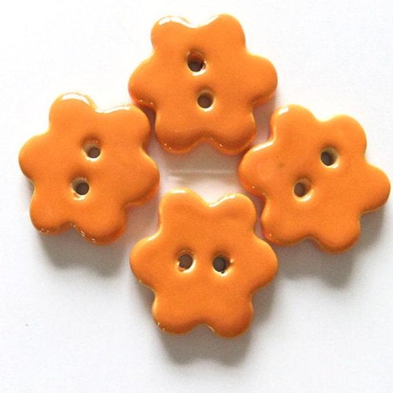 Pumpkin Orange Handmade Ceramic Flower Buttons x 4