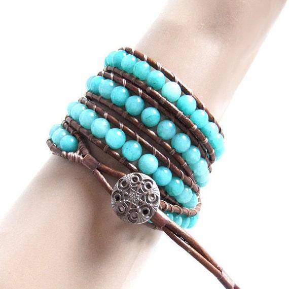 Amazonite Gemstone Beaded Leather Wrap Bracelet x 4 wrap Handmade (Chan Luu style), Bronze Leather