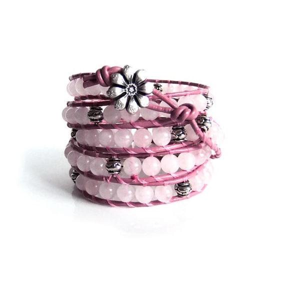 Rose Quartz Gemstone Beaded Leather Wrap Bracelet x5 wraps, (Chan Luu style)