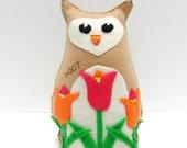 SALE felt owl -8 inch stuffed HOOT owl with tulips