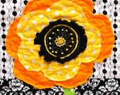 poppy quilt- wall art quilt- single stem in orange and yellow on black and white