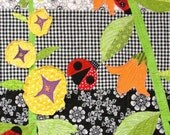 ladybug baby quilt / wall art quilt- ''Garden Party''- ladybugs, hollyhocks and bell flowers- ships via priority mail