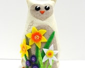 felt owl- 8 inch stuffed HOOT owl for Easter / Spring with garden of daffodils and purple flowers